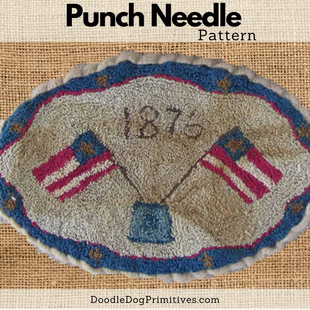 1876 flags punch needle pattern