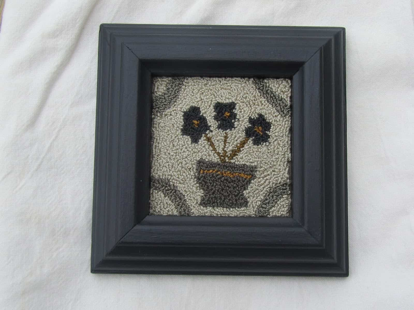 framed punch needle flowers
