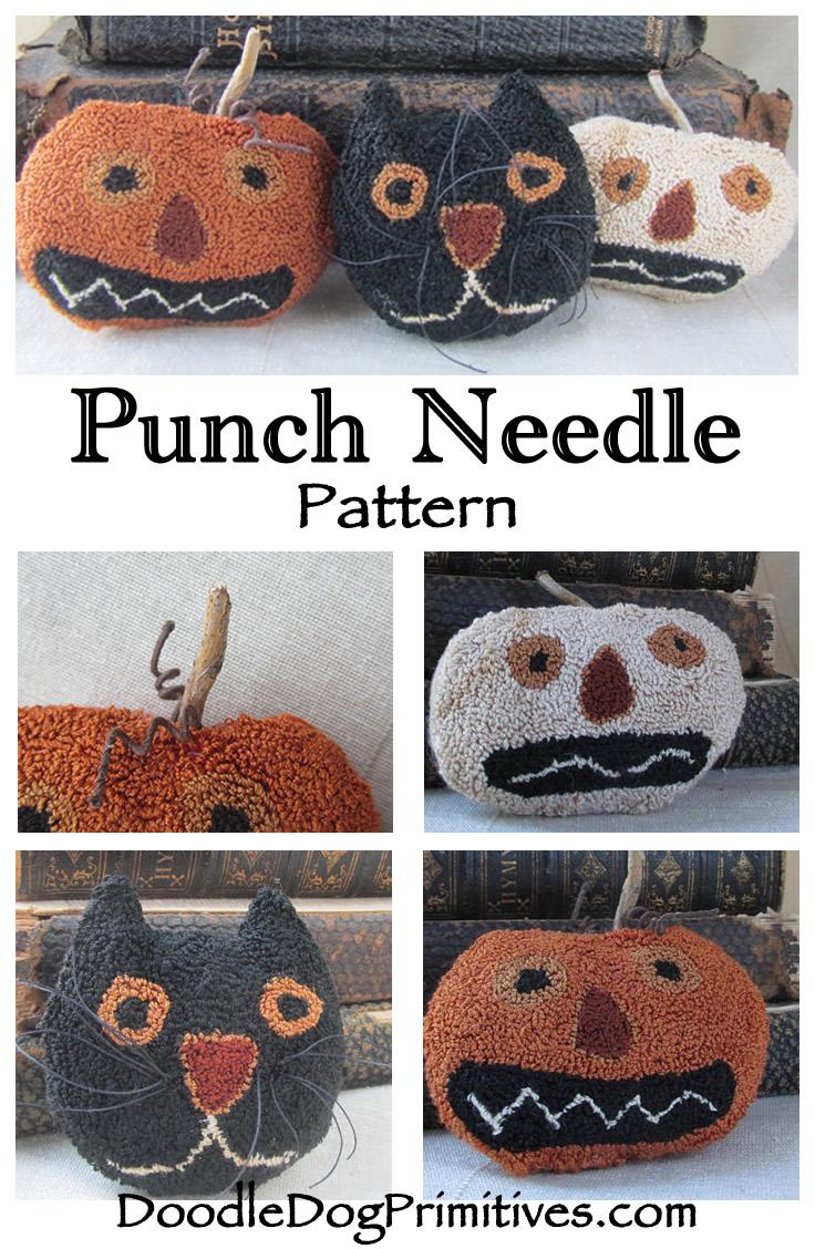 Spooky Trio punch needle pattern