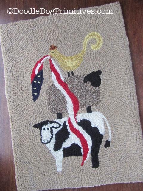 Patriotic Animal Stack-up Hooked Rug