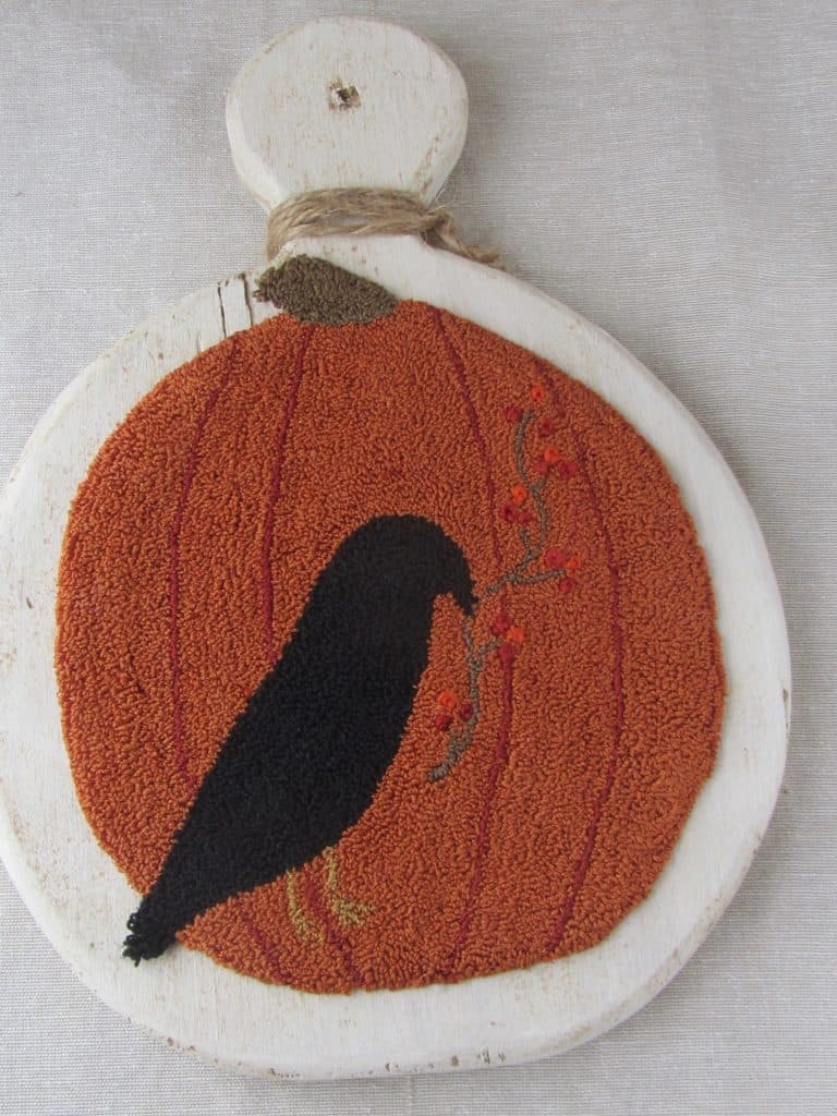 Free Pattern Punch Needle Pumpkin And Crow Doodledog