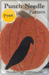 Free Punch Needle Pumpkin & Crow