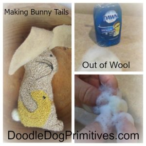 Making Bunny Tails out of Wool