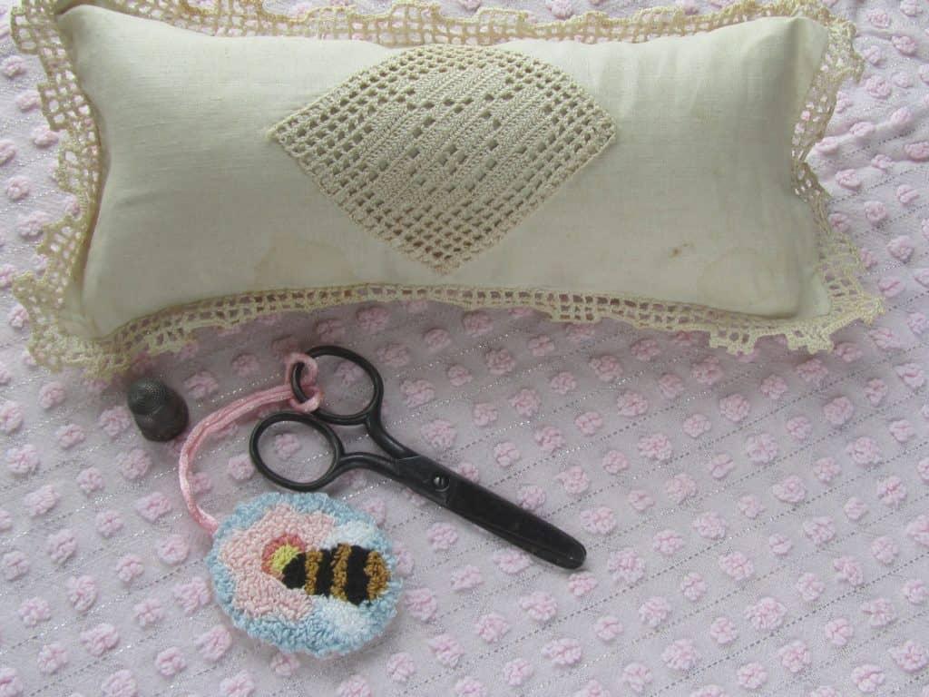 scissor fob and antique pin cushion