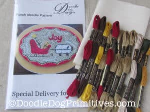 Special Delivery for Ewe punch needle paper pattern and kit