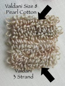 Comparison of Valdani 3 strand floss vs. pearl cotton #8