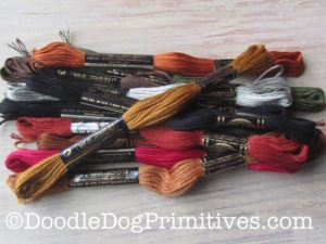 Skeins of DMC Embroidery floss