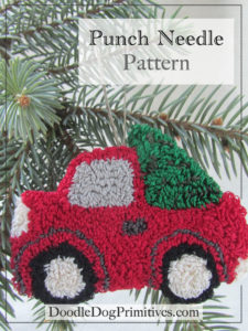 Vintage Red Truck With Christmas Tree Punch Needle Pattern