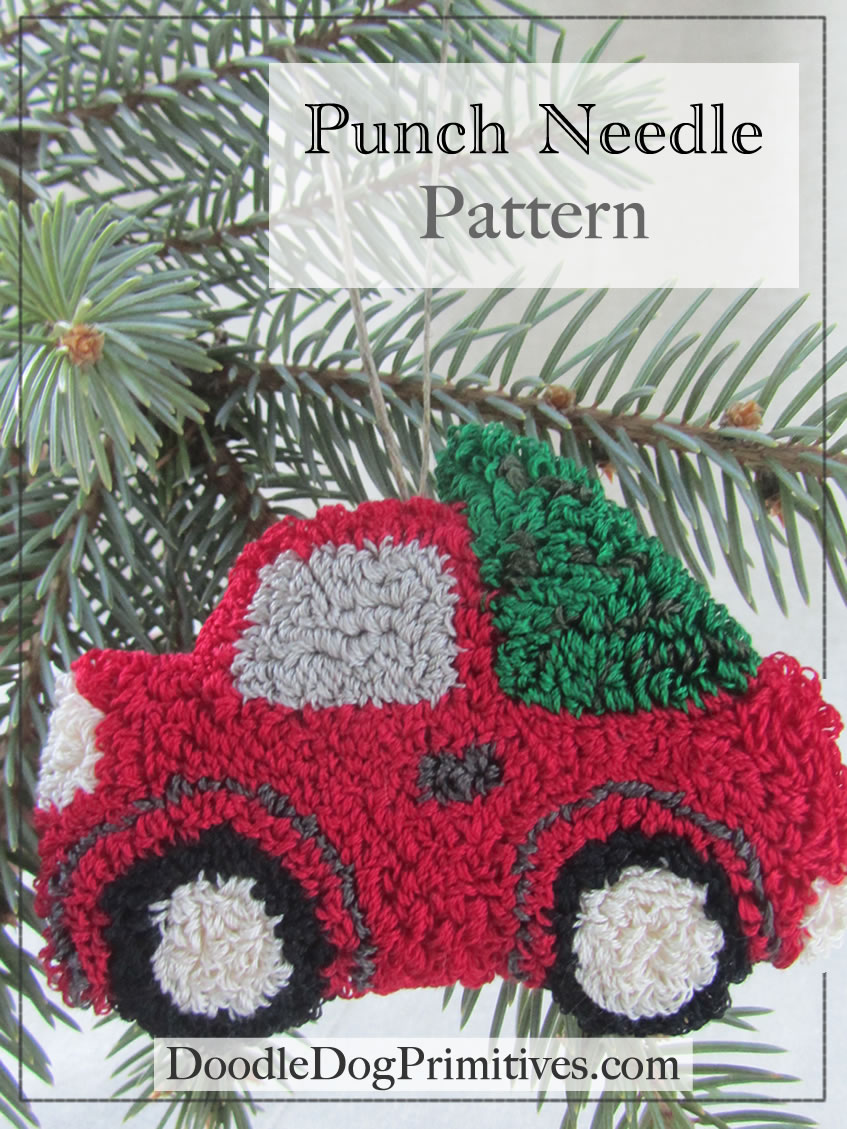 Vintage Red Truck Christmas Tree Punch Needle Pattern on Wholesale Vintage Home Decor