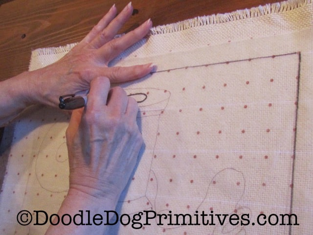 Trace Rug Hooking Pattern onto the Red Dot Fabric