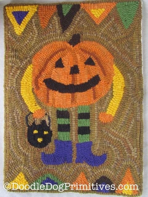 Pumpkin Man Hooked Rug