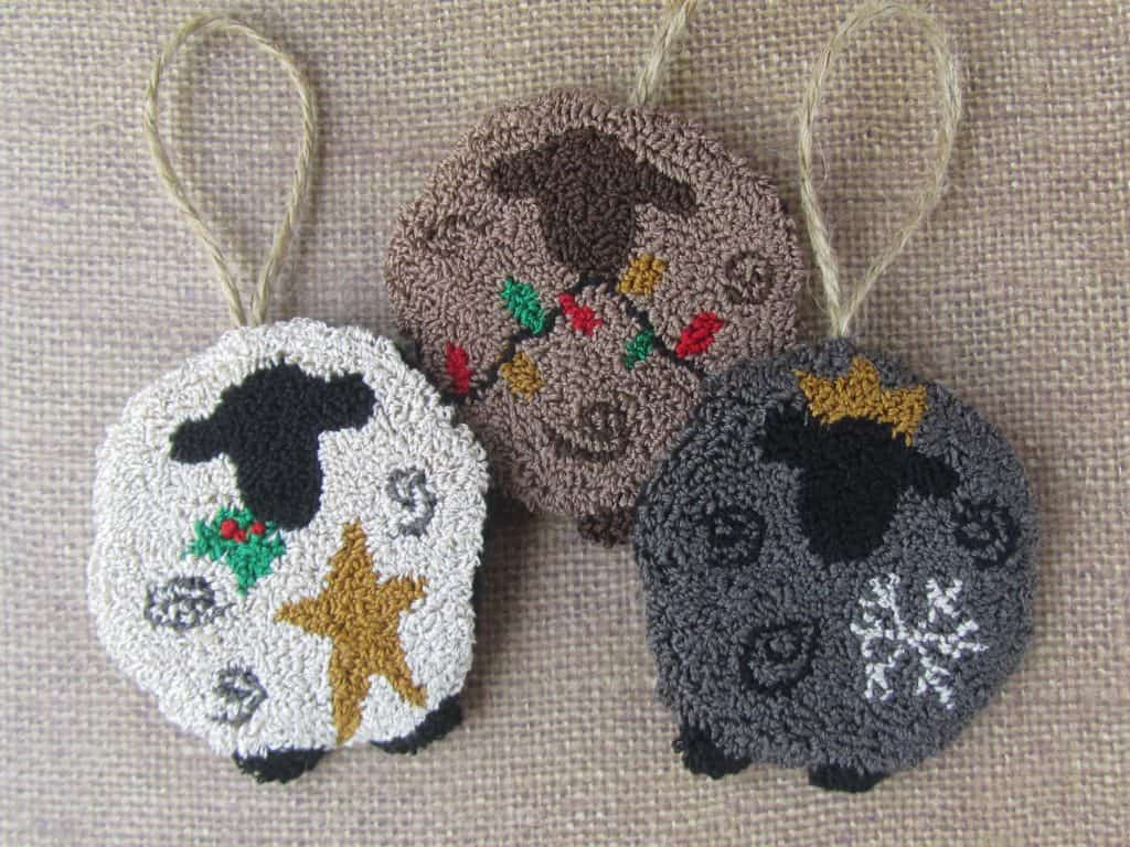 We Three Sheep - punch needle ornaments