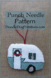 Retro camper punch needle ornament   DoodleDogPrimitives.com