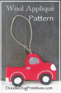 Vintage Red Truck Christmas Tree Ornament Wool Applique Pattern
