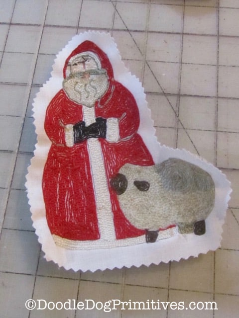 back of Santa and sheep punch needle project cut out