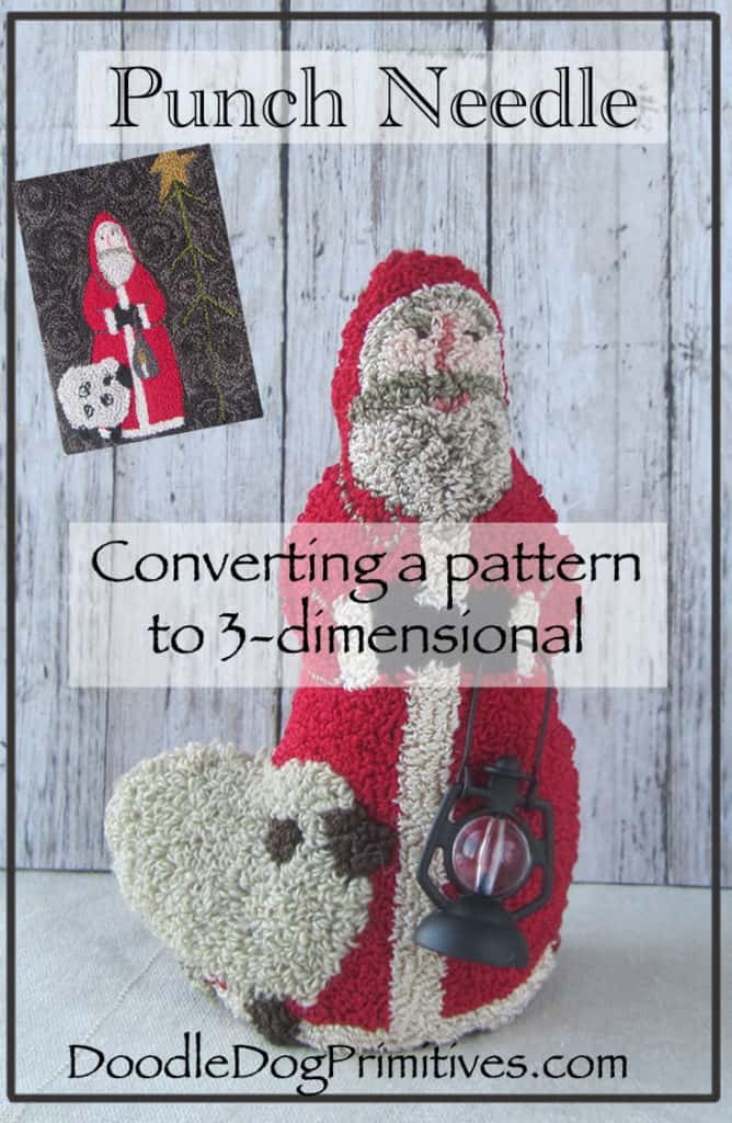 Converting a flat punch needle pattern to a 3 dimensional figure - punch needle