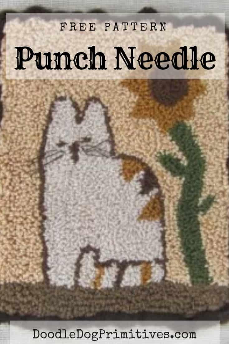 Free Calico Cat punch needle pattern