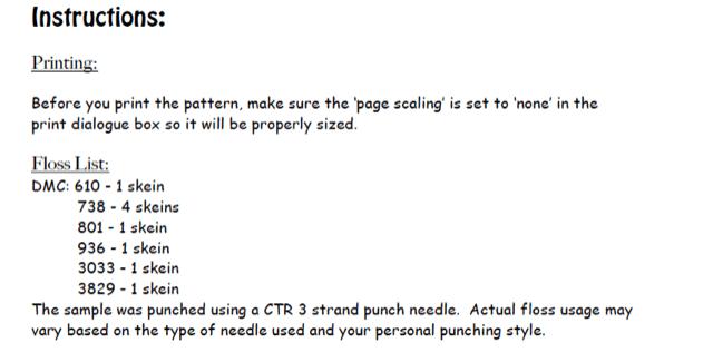 List of floss needed