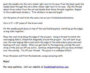 Finishing Instructions