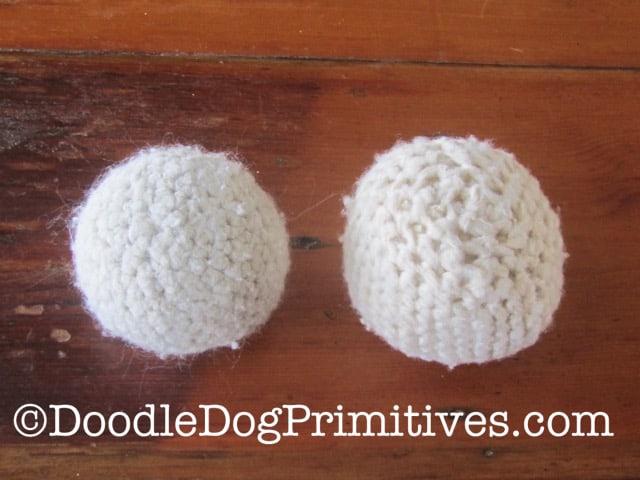 wool crocheted dryer balls - felting process