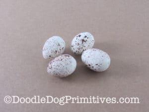 Dollar Tree styrofoam eggs painted and splattered