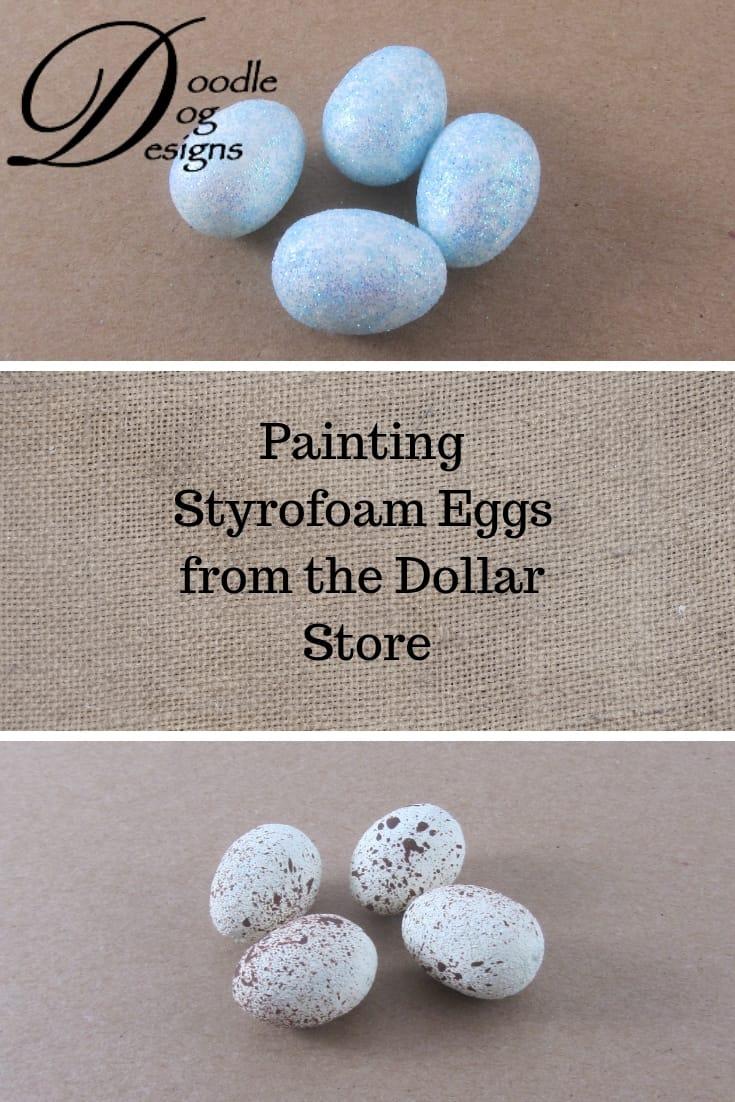 Here's how I transformed glittery styrofoam eggs into primitive, speckled eggs.