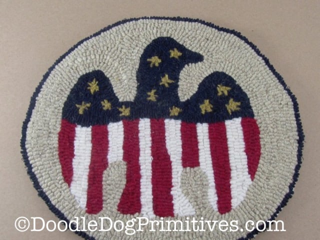 Primitive Americana eagle hooked rug