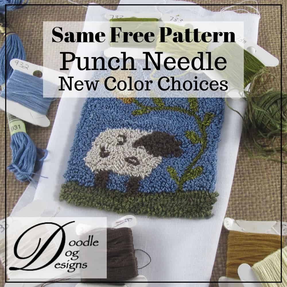 Free primitive sheep punch needle pattern with floss color choices