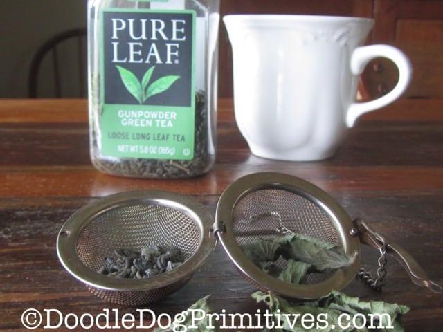 Making some green mint tea