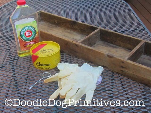 supplies for restoring antique wooden box