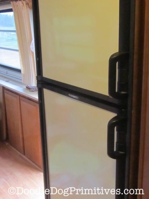 Magnetic Panels Installed on Camper Fridge