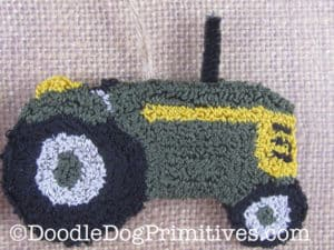 Green Punch Needle Tractor