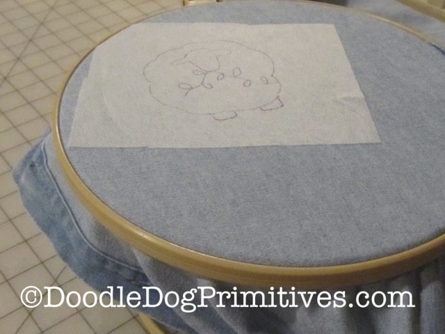 place shirt into locking hoop