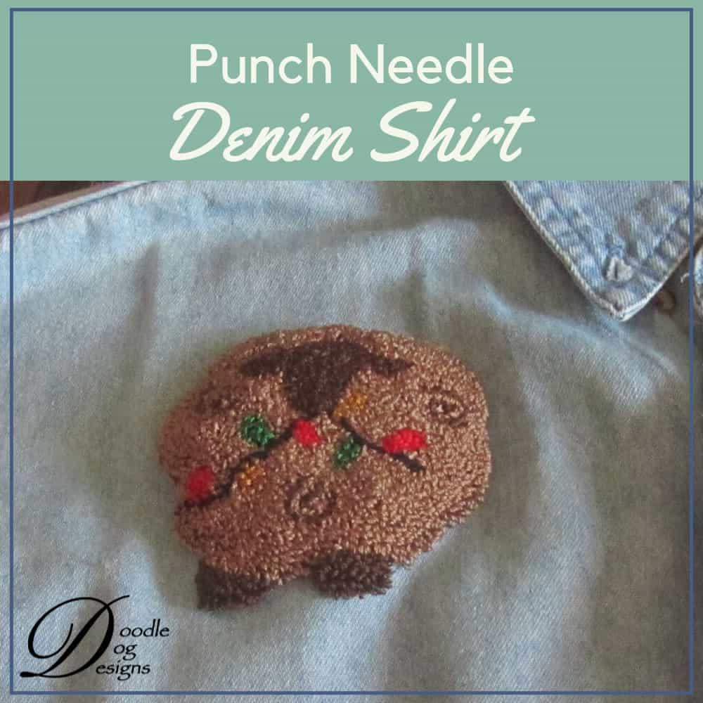 Punch Needle on Denim Shirt