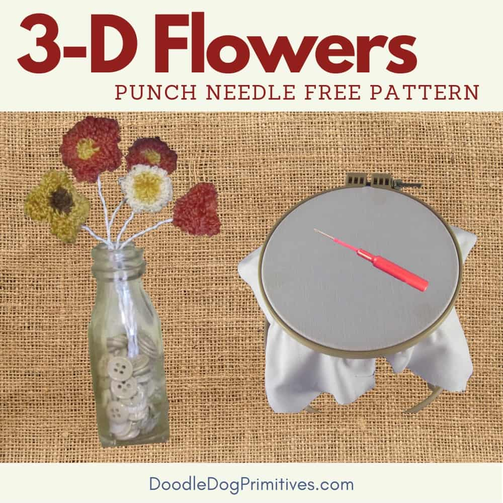 3d flowers punch needle pattern