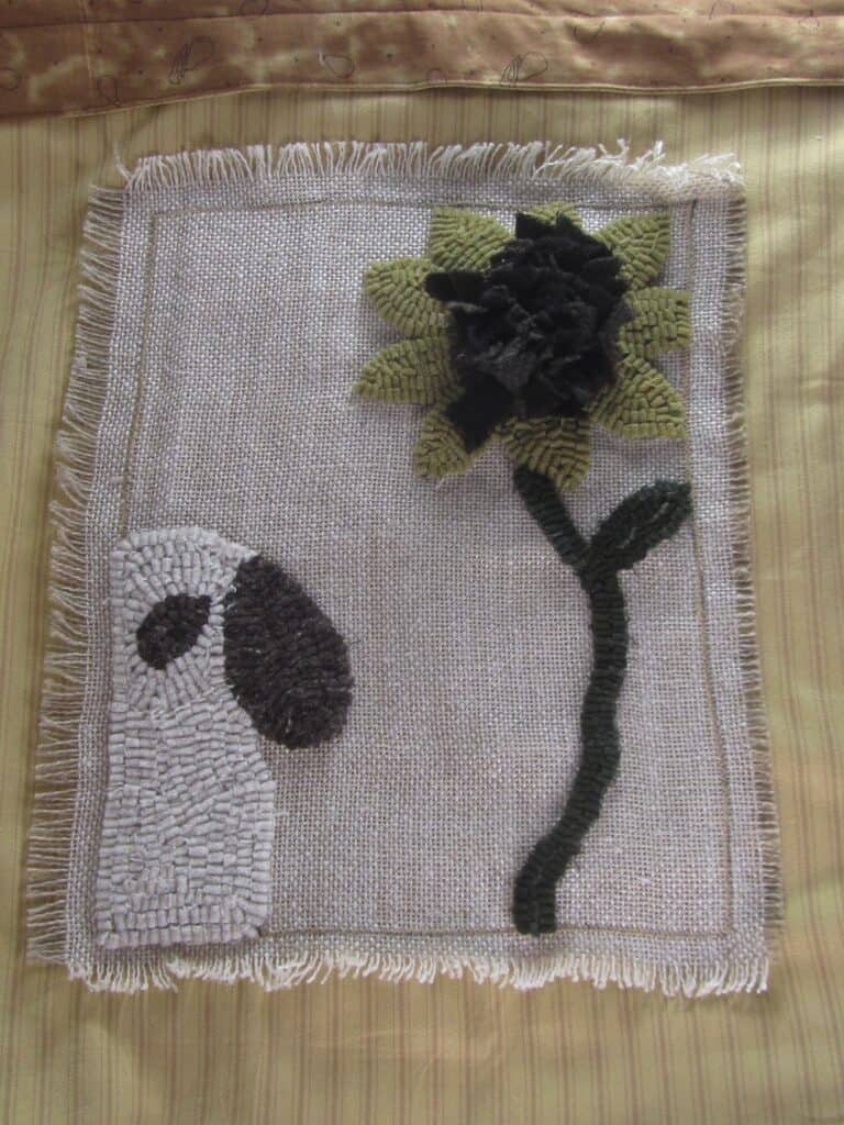 Ewe & My Sunflower Hooked Rug Pattern