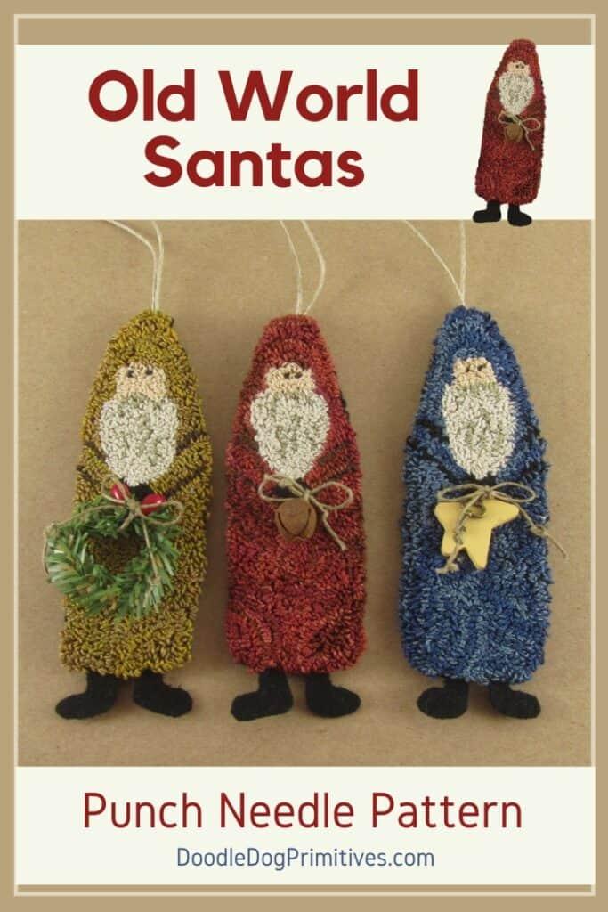 Santa Ornaments Punch Needle Pattern