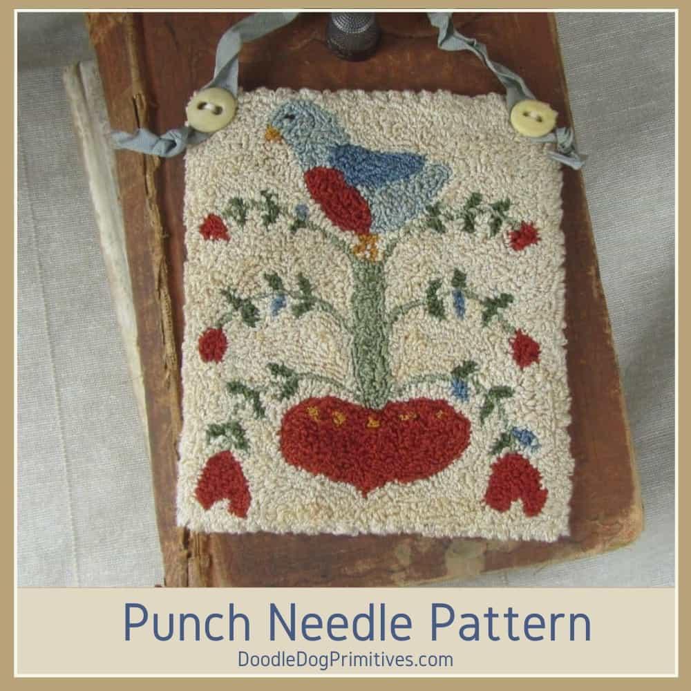 bird love fraktur punch needle pattern