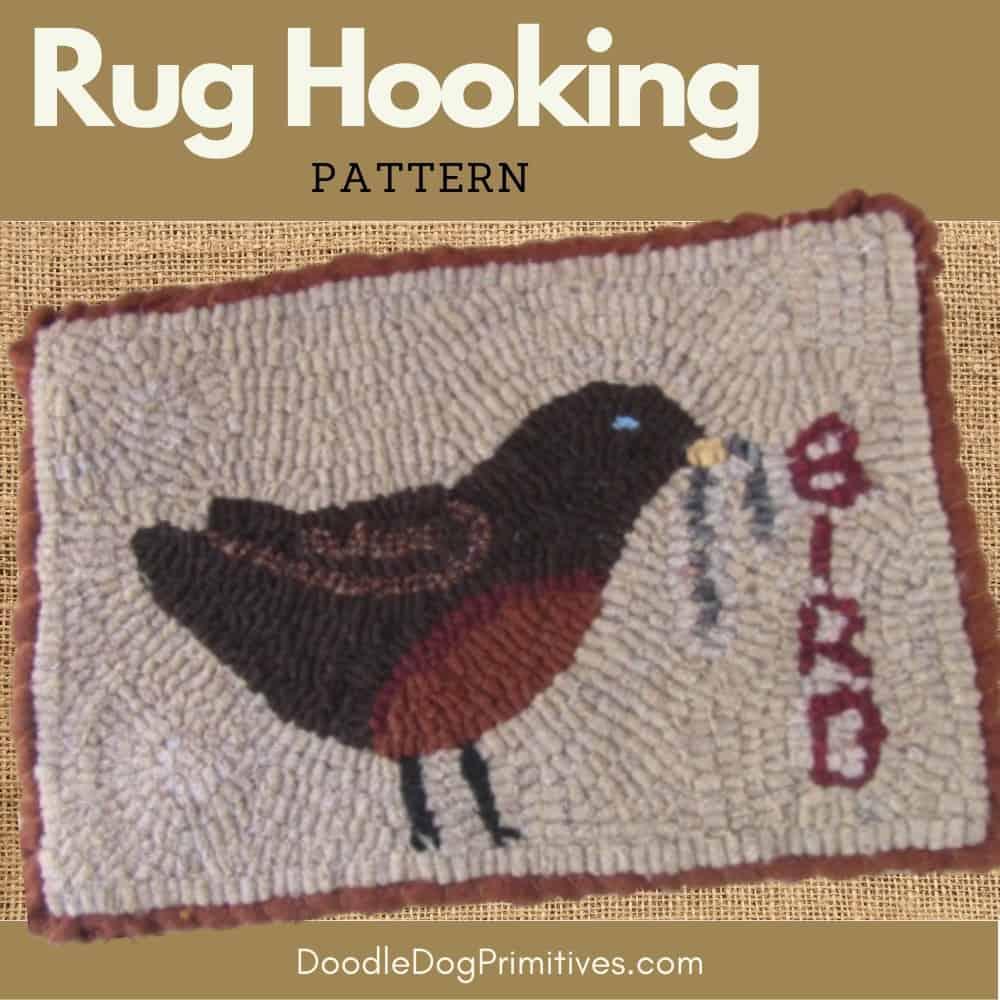 Robin hooked rug pattern