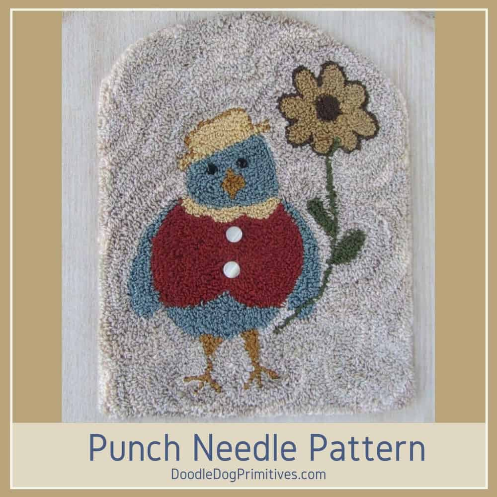 blue bird punch needle pattern