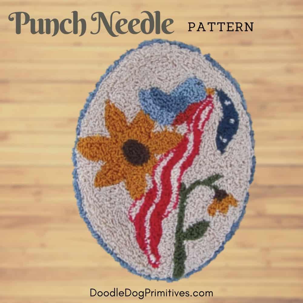 Patriotic blue bird punch needle pattern