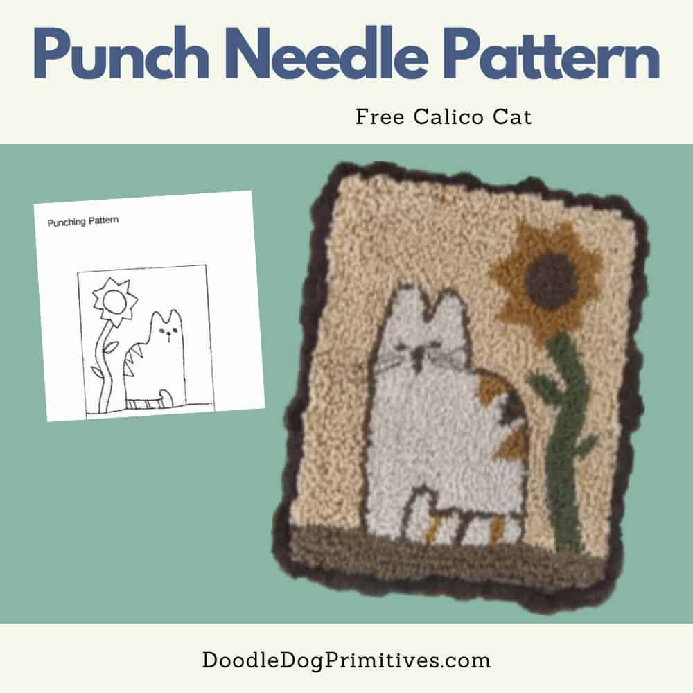 calico cat punch needle pattern