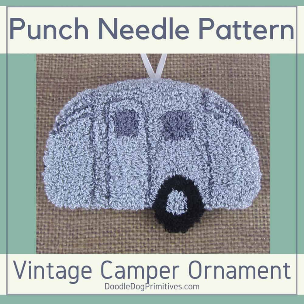 Silver Camper Punch Needle Ornament