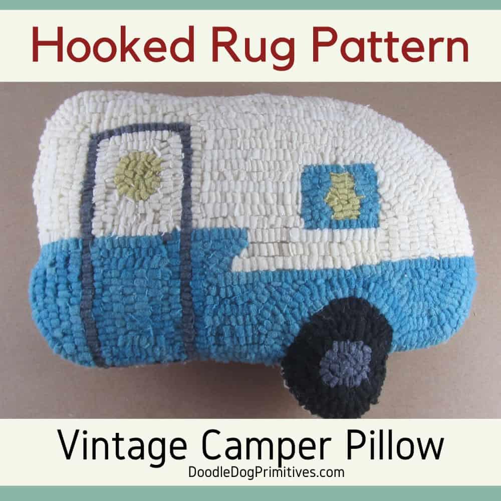 Hooked Rug Pattern - Vintage Camper Pillow