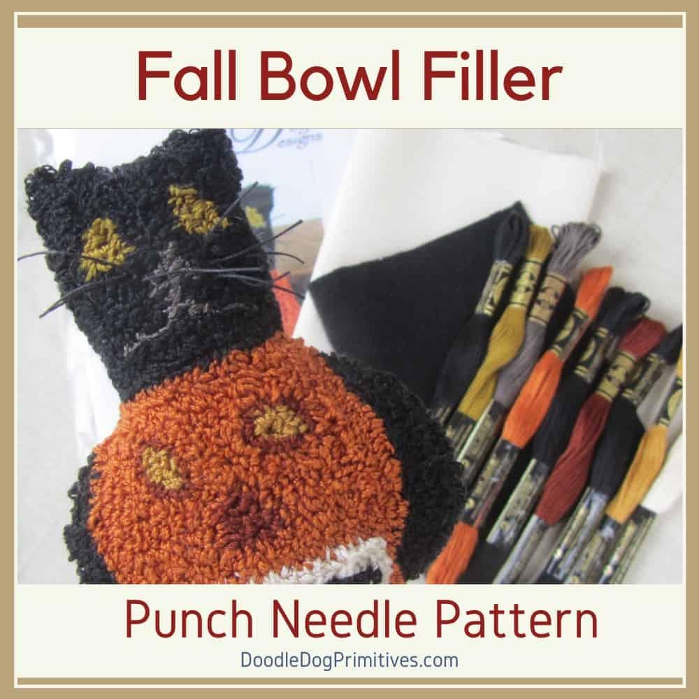 Spooky Black Cat Punch Needle