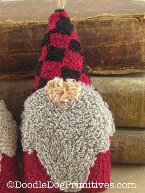 gnome ornament with buffalo check hat