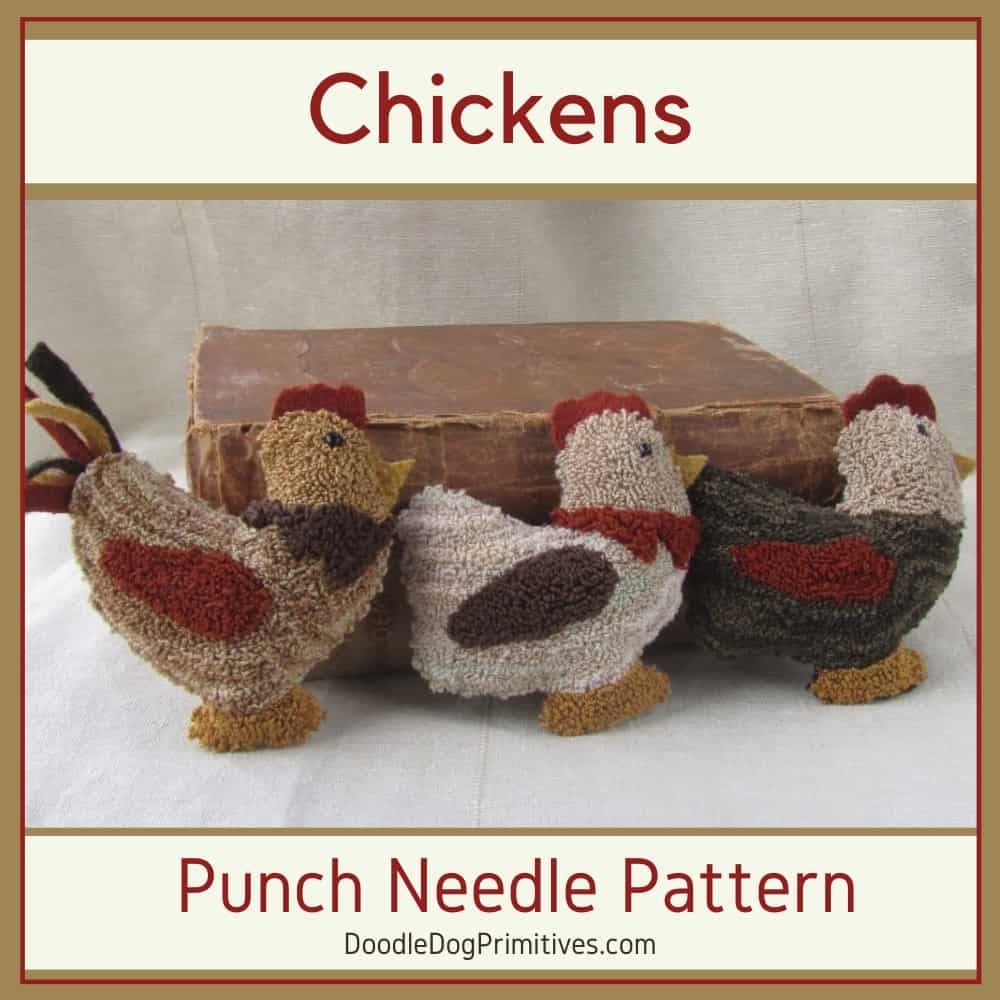 Chickens punch needle pattern
