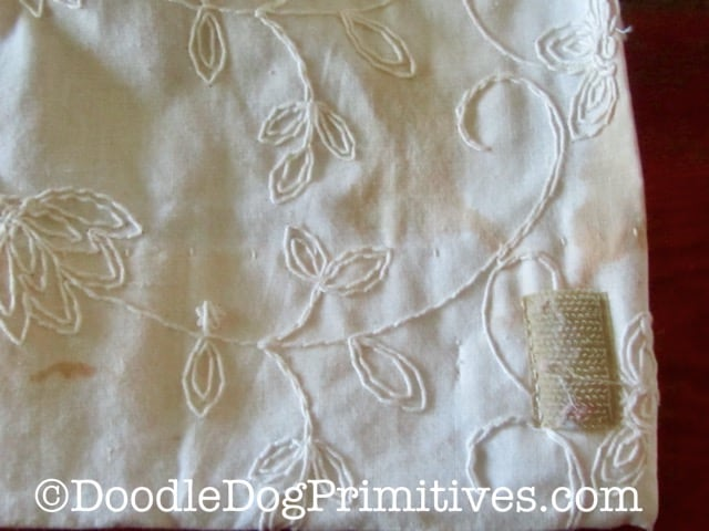 Water stained vintage camper curtain