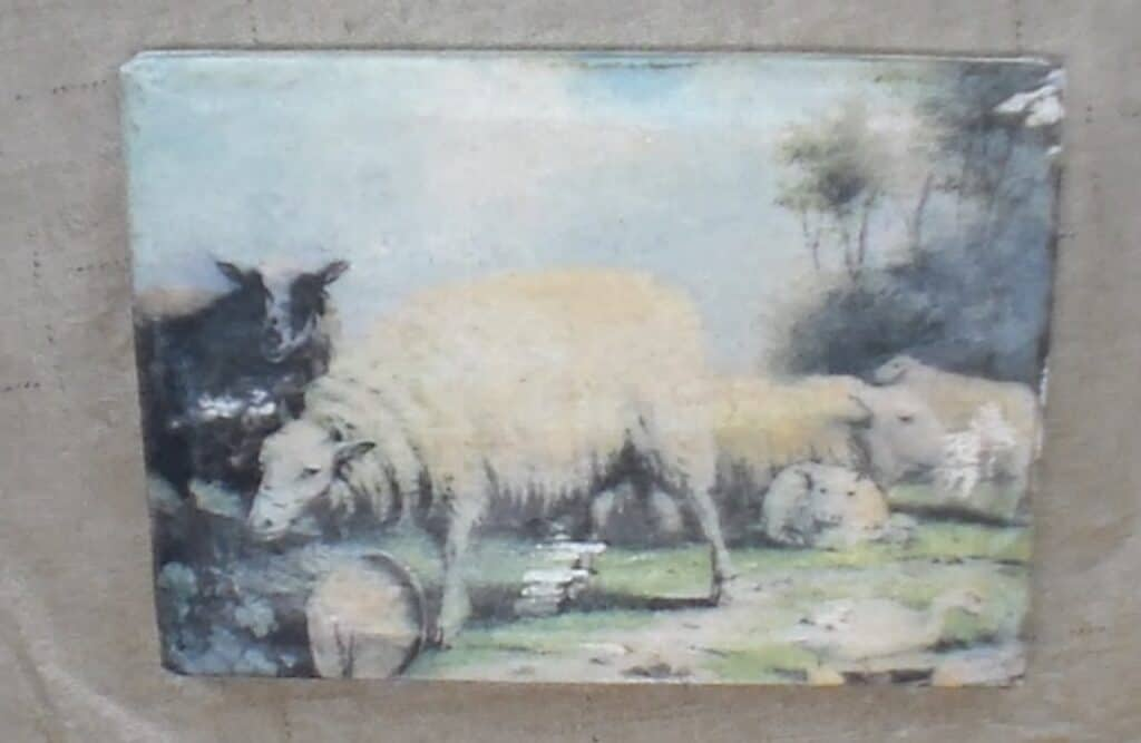 finished antique picture transferred onto canvas