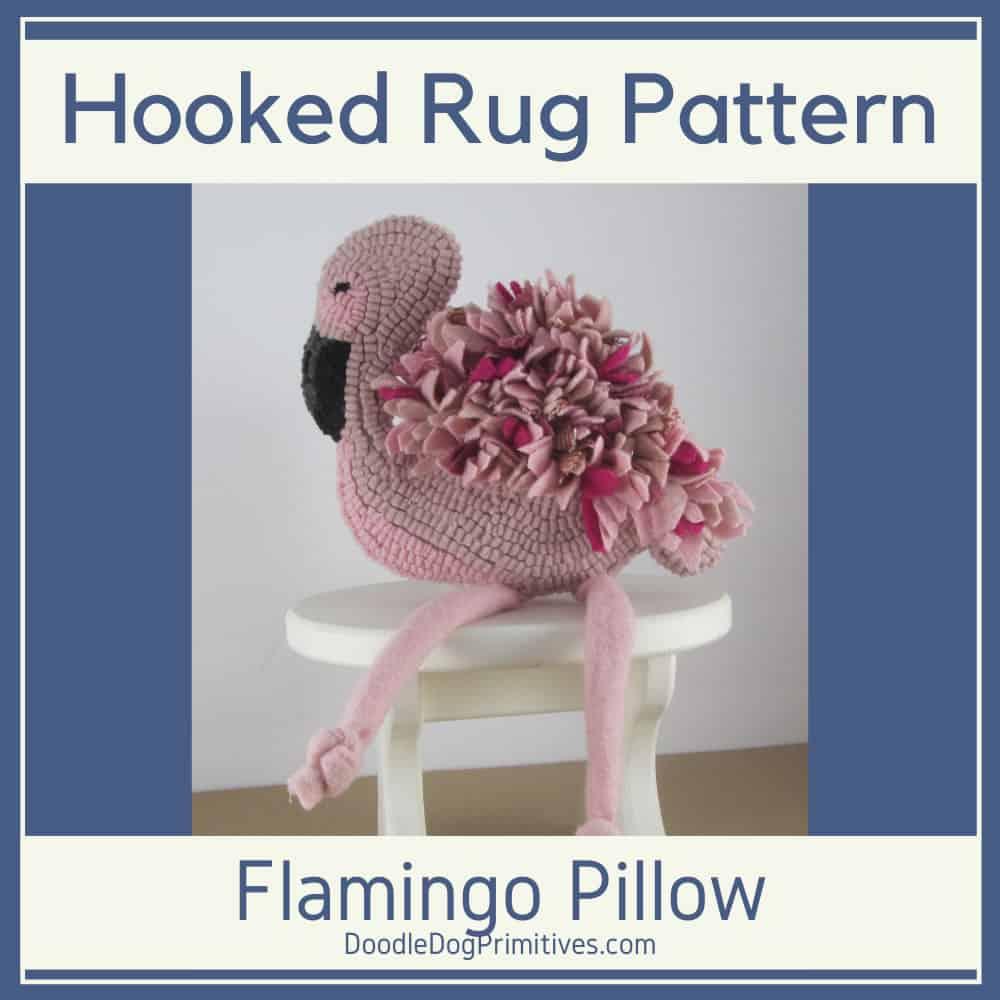 Hooked Rug Pattern - Pink Flamingo Pillow